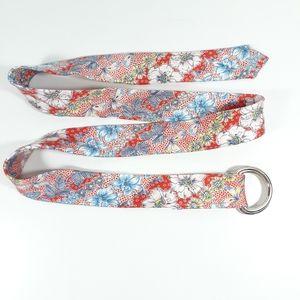 J. Crew Silk Tie Belt D Ring Floral Print S/M
